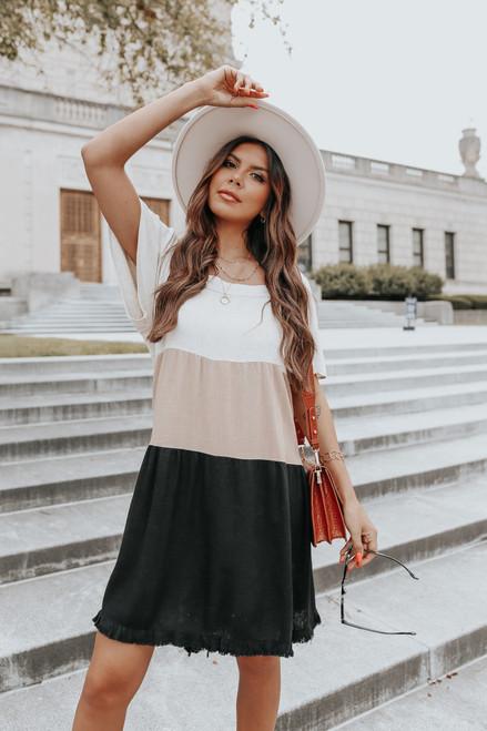 Square Neck Colorblock Linen Shift Dress