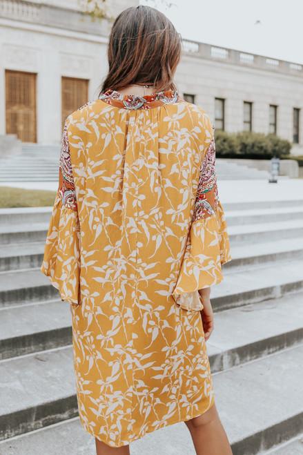Bell Sleeve Mixed Print Shift Dress