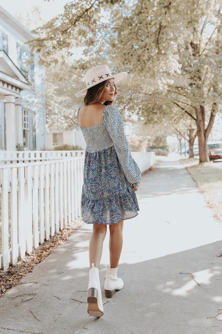 Square Neck Smocked Contrast Blue Floral Dress