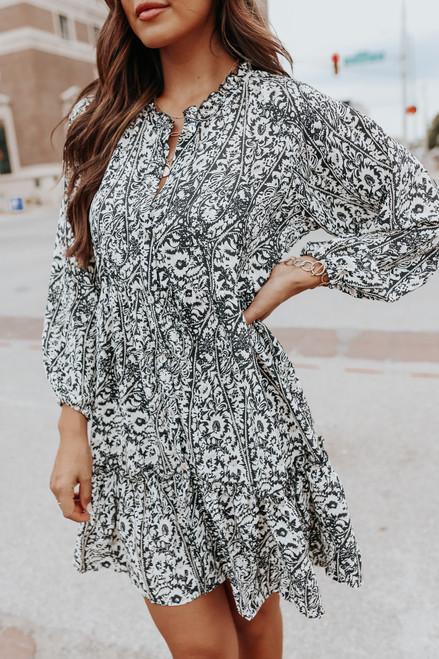 Button Down Printed Babydoll Dress