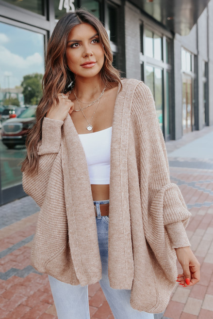 Open Front Dolman Taupe Hooded Cardigan