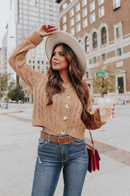 Sweetheart Button Down Camel Cable Cardi
