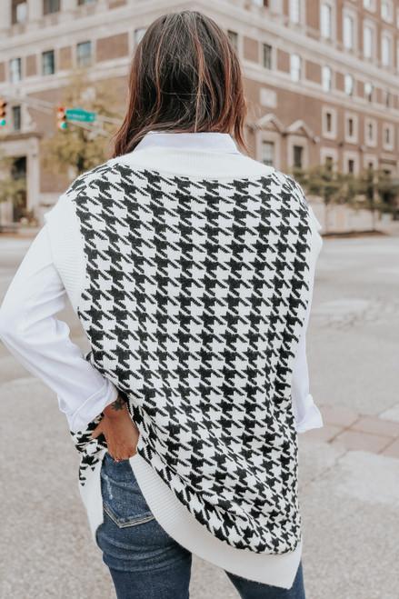 V-Neck Houndstooth Oversized Sweater Vest