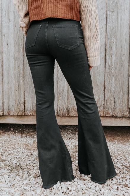 Halen Distressed Black Flare Jeans