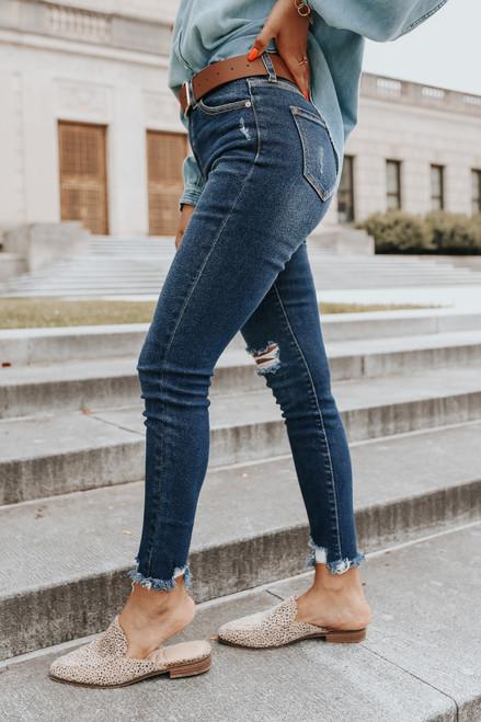Late Night Distressed Dark Wash Skinny Jeans