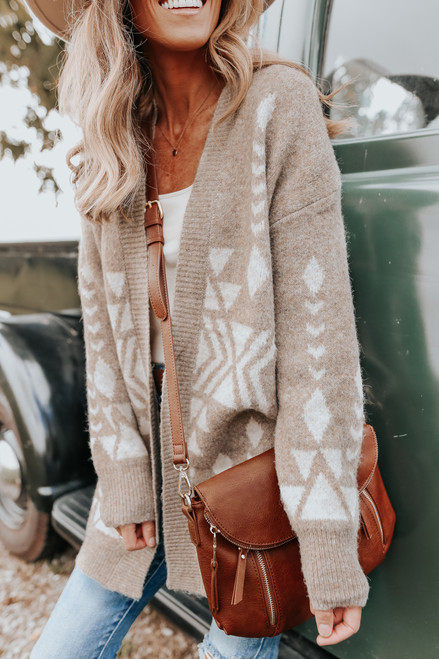 Open Front Taupe Geometric Cardigan