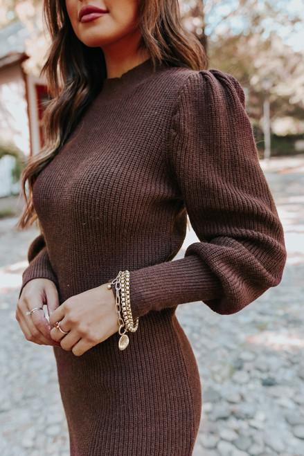 Puff Sleeve Chocolate Sweater Dress