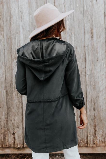 Open Front Peach Skin Black Hooded Jacket