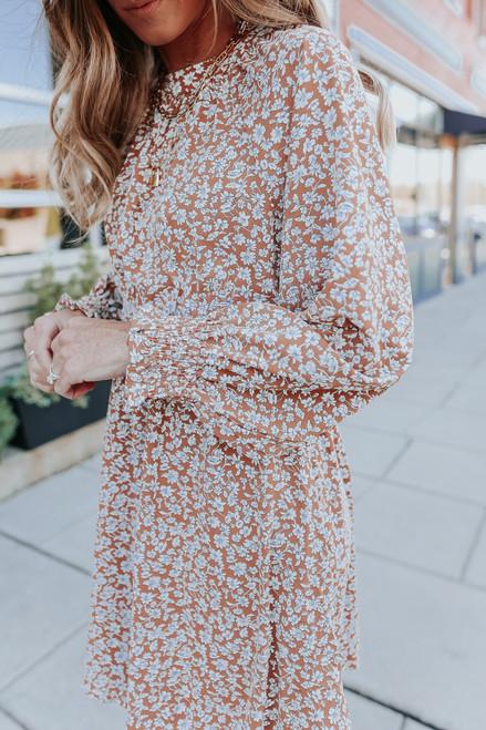 High Neck Smocked Waist Camel Floral Dress