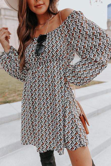 Square Neck Geometric Print Dress
