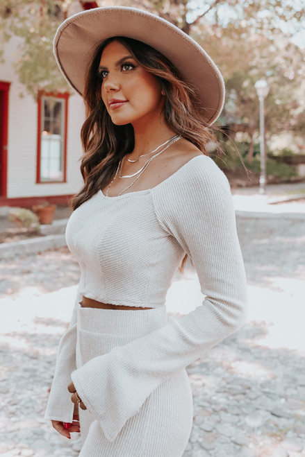 Sweetheart Brushed Oatmeal Ribbed Crop Top