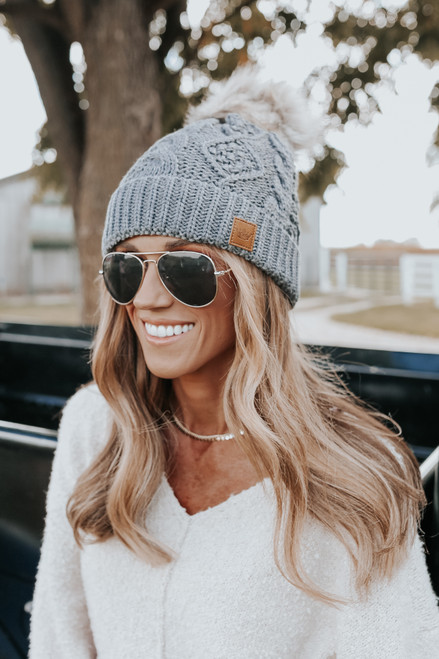 Upstate Fleece Lined Grey Cable Pom Beanie