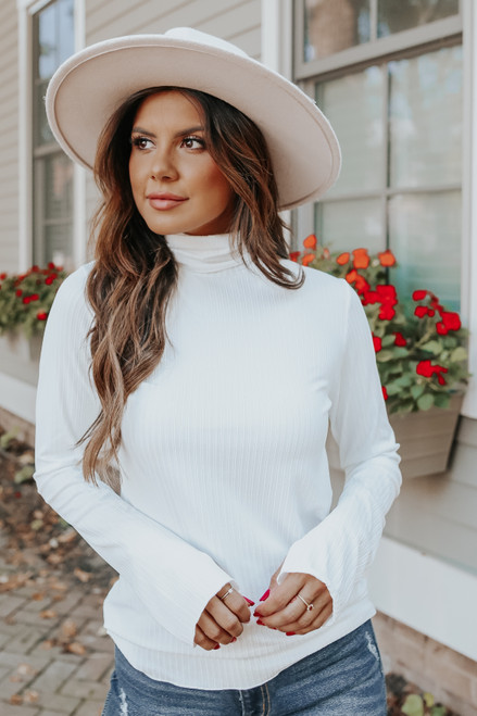 Truly Iconic Turtleneck Ivory Ribbed Top