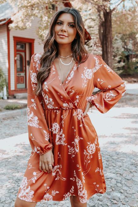 Surplice Sienna Floral Satin Dress
