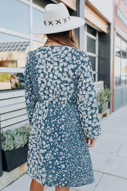 Flourish Surplice Teal Floral Dress