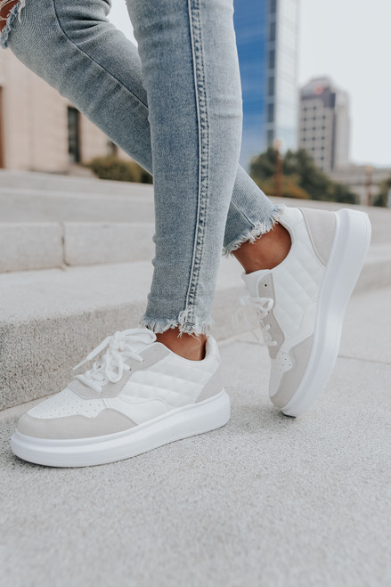 By the Way White/Taupe Contrast Quilted Sneakers
