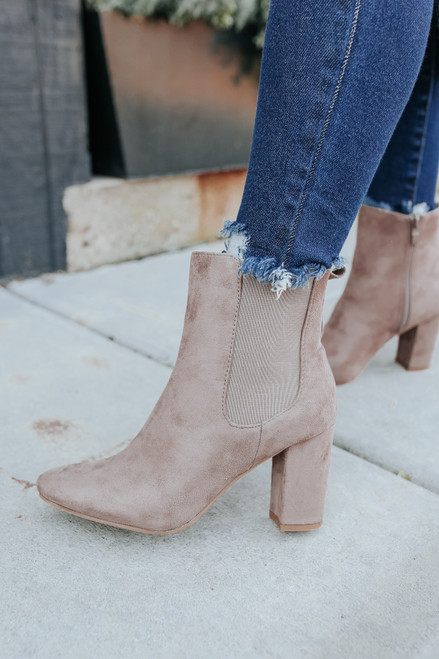 Sweet Side Faux Suede Taupe Booties