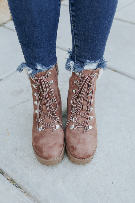 Hearth Faux Suede Taupe Lace Up Booties