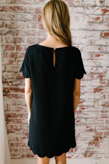 It Girl Short Sleeve Scalloped Shift Dress - Black - FINAL SALE
