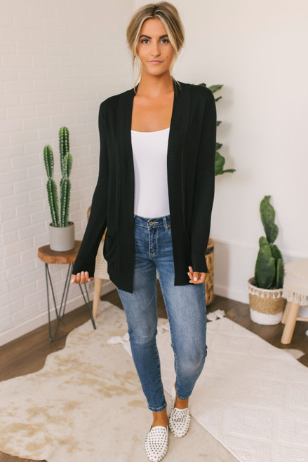 Down By The Bay Knit Cardigan - Black