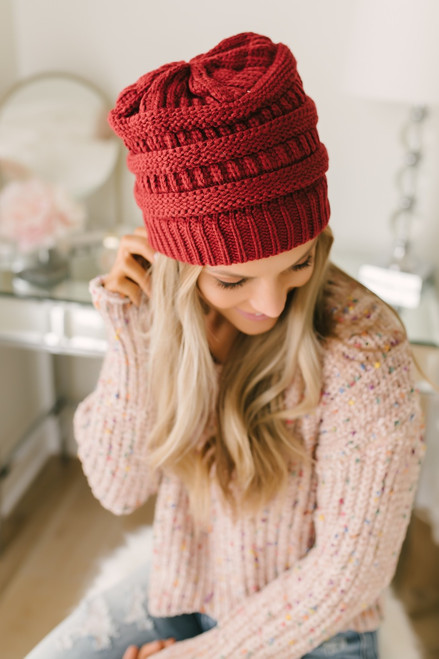 Knit Beanie - Burgundy - FINAL SALE
