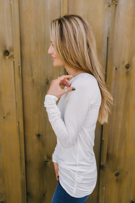 Long Sleeve Ruched Knit Tunic - Ivory - FINAL SALE
