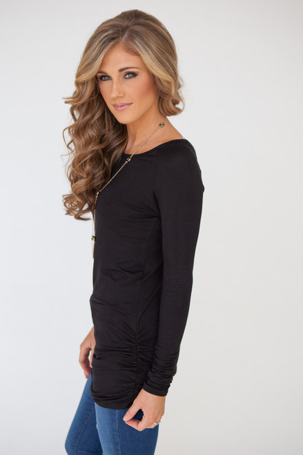 Long Sleeve Ruched Knit Tunic - Black