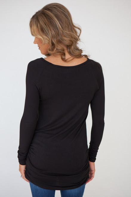 Long Sleeve Ruched Knit Tunic - Black - FINAL SALE