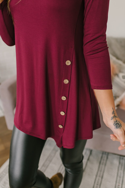 3/4 Sleeve Button Detail Tunic - Burgundy - FINAL SALE