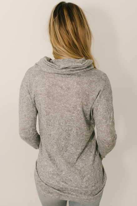 Gathered Button Fleece Tunic - Heather Grey - FINAL SALE