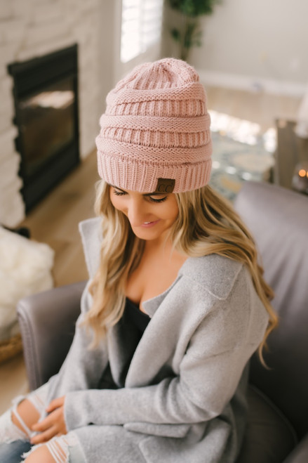 Knit Beanie - Light Pink - FINAL SALE
