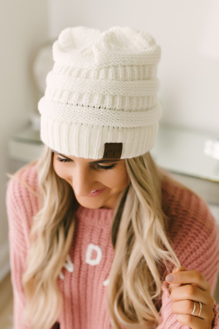 Knit Beanie - Ivory - FINAL SALE