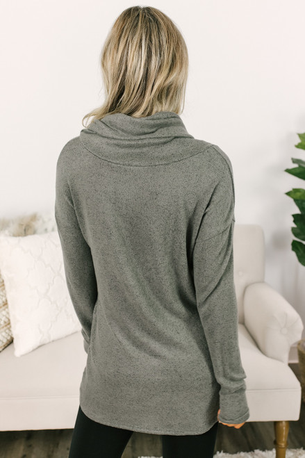 Gathered Button Fleece Tunic - Heather Olive