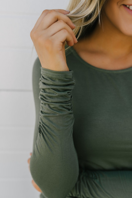 Long Sleeve Ruched Knit Tunic - Olive