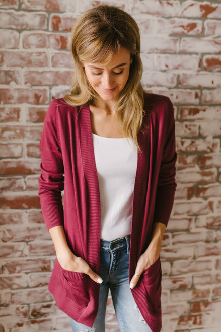 Down By The Bay Knit Cardigan - Wine  - FINAL SALE