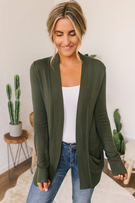 Down By The Bay Knit Cardigan - Olive
