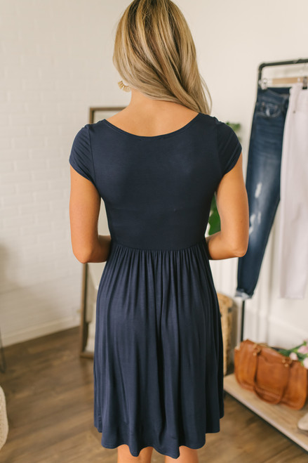 Short Sleeve Empire Waist Dress - Navy