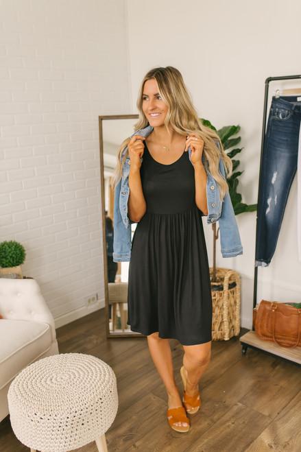 Short Sleeve Empire Waist Dress - Black - FINAL SALE
