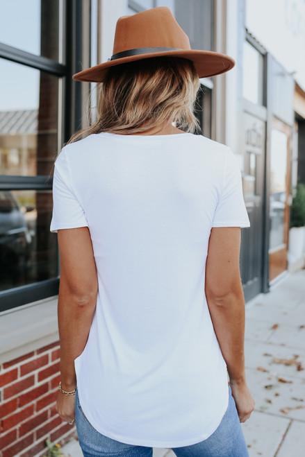 Nadine V Neck Tee - White