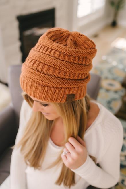Knit Beanie - Rust - FINAL SALE
