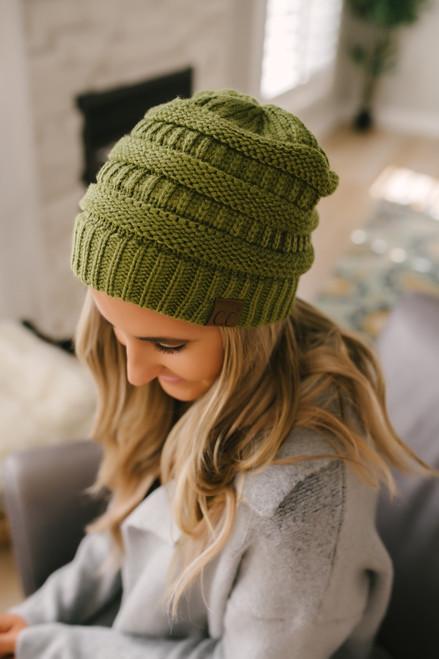 Knit Beanie - Olive Green - FINAL SALE