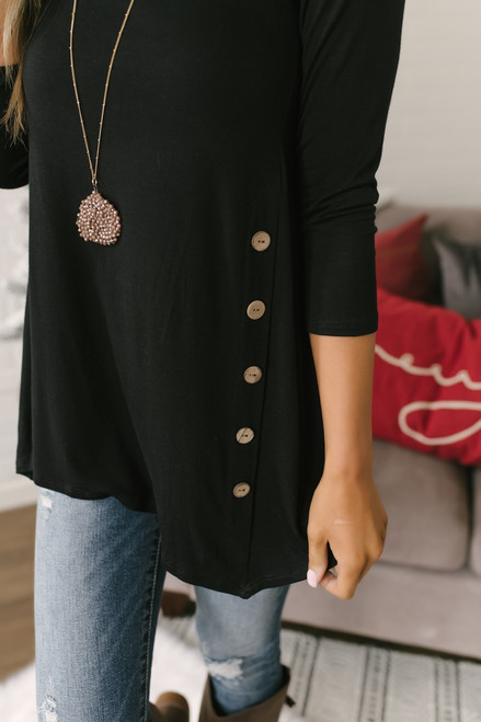 3/4 Sleeve Button Detail Tunic - Black - FINAL SALE