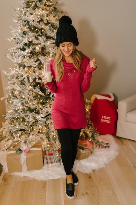 Gathered Button Fleece Tunic - Heather Wine