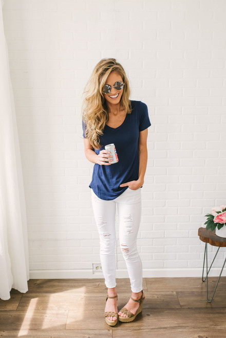Nadine V Neck Tee - Navy