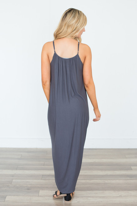 Gathered Front Maxi Dress - Charcoal (EXPECTED END OF MAY)
