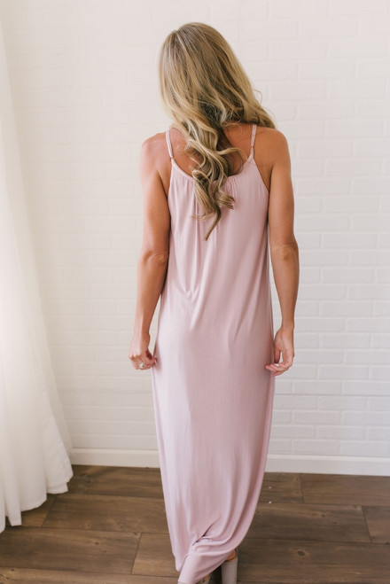 Gathered Front Maxi Dress - Blush - FINAL SALE