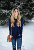 Cozy Knit Pocket Tunic - Navy