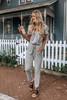 Short Sleeve Surplice Jumpsuit - Heather Grey - FINAL SALE