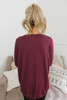 Contrast Stitch French Terry Pullover - Burgundy