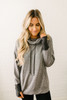 All Star Cowl Neck Contrast Sweatshirt - Heather Charcoal  - FINAL SALE